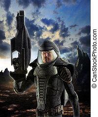 futurista, soldado, en, traje espacial