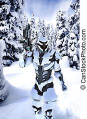 futurista, soldado, en, un, madera, con, nieve