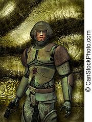 futurista, soldado, en, uniforme