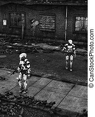 futurista, soldado, robotes, en, arruinado, city.