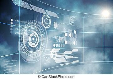 futurista, tecnología, interfaz