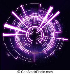 futurista, tecnología, rueda, en, un, fondo negro