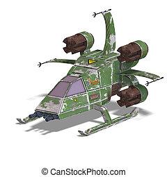 futurista, transformar, scifi, robot, y, nave espacial