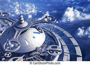 futurista, vuelo, estación, encima de las nubes