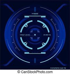 futuriste, écran tactile, interface utilisateur, hud