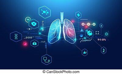 futuriste, analyse, diagnostic, humain, soin, wireframe, santé, concept, maladie, point, maladies, poumons, numérique, connecter, résumé, pulmonaire, patients., bleu