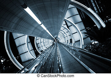 futuriste, architecture., tunnel, à, en mouvement, sidewalk.