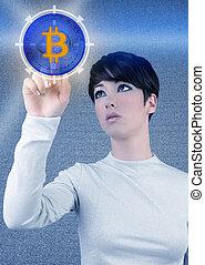 futuriste, bitcoin, btc, femme, écran tactile