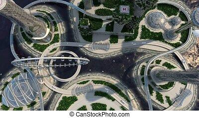 futuriste, business, skyline., concept., vision, ville, avenir, concept