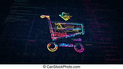 futuriste, chariot, symbole, croquis