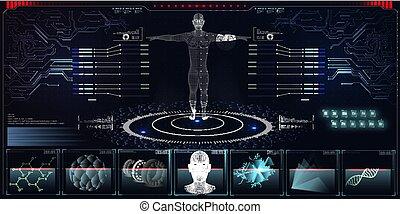 futuriste, coeur, ui, hud, toucher, adn, illustration, virtuel, cerveau, graphique, balayage médical, interface