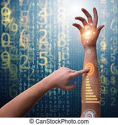 futuriste, concept, main humaine, robotique