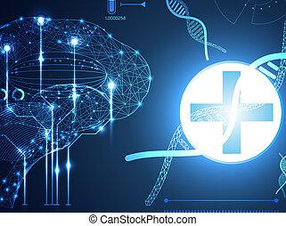 futuriste, corps, données, adn, communication, technologie, avenir, humain, technologie, calculer, salut, diagramme, innovation, santé, interface, cerveau, éléments, hologramme, conception, hud, ui, numérique, résumé, fond