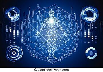 futuriste, corps, données, communication, technologie, ;, ...