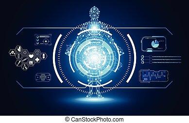 futuriste, corps, données, communication, technologie, ;, avenir, arrière-plan., humain, calculer, technologie, salut, diagramme, interface, services médicaux, éléments, hologramme, conception, hud, ui, numérique, concept abstrait