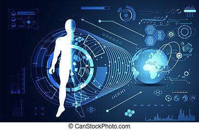 futuriste, corps, données, communication, technologie, mondiale, ;, avenir, arrière-plan., humain, calculer, technologie, salut, diagramme, interface, services médicaux, éléments, hologramme, conception, hud, ui, numérique, concept abstrait