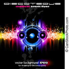 futuriste, disco, fond, musique
