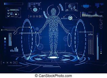 futuriste, données, communication, technologie, avenir, humain, technologie, salut, diagramme, concept., innovation, santé, interface, soin, éléments, hologramme, vitalité, conception, hud, ui, numérique, résumé, fond