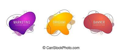 futuriste, ensemble, eps10, bannière, elements., arrière-plan., couleur, liquide, résumé, gradient, dynamique, fluide, post., éléments, minimal, vector., social, branché, géométrique, shapes., logo