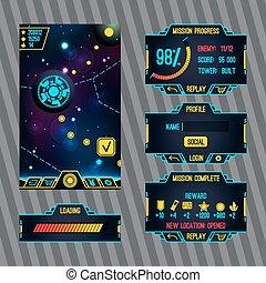 futuriste, espace, jeu, interface, écran