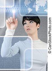futuriste, femme affaires, doigt, clavier, lumière, écran