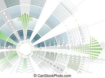 futuriste, flèche, vert