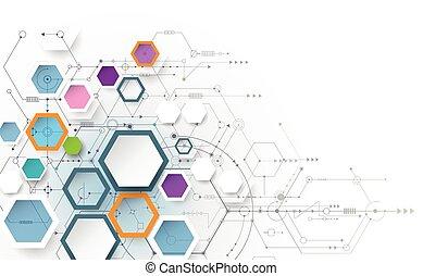 futuriste, forme, vecteur, hexagone, illustration, résumé