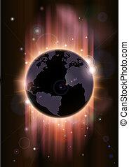 futuriste, globe, concept, illustrati