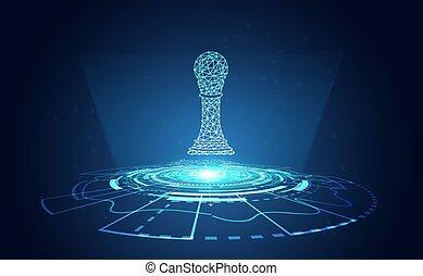 futuriste, gradient, résumé, espace, salut, moderne, wireframe, échecs, cercle, copie, technologie, light., vecteur, illustration., technologie