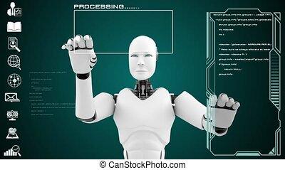 futuriste, grand, analytics, programmation, intelligence artificielle, données, cgi, robot