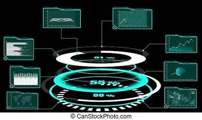 futuriste, grand, interface, analytic, diagramme, tableau bord, utilisateur, données, information