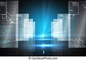 futuriste, hologramme, fond