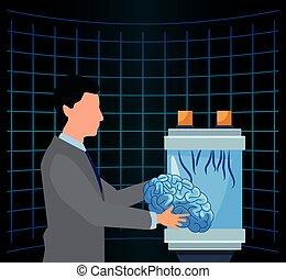 futuriste, homme, science, tenue, cerveau, intelligence artificielle, technologie, humain