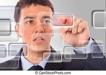 futuriste, intérieur, homme, interface