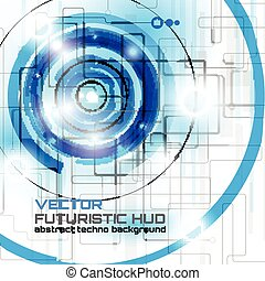 futuriste, interface, fond, hud, résumé, technologie, techno, cercle, vecteur
