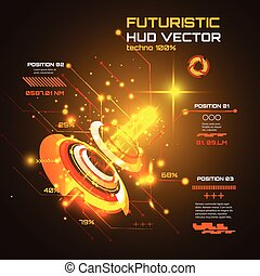 futuriste, interface, infographics, hud, technologie, vecteur, fond