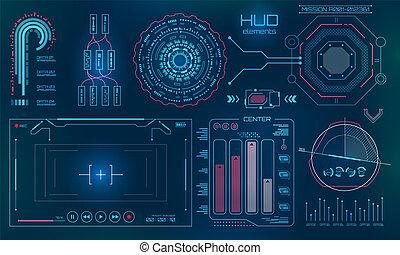 futuriste, interface utilisateur, hud, technologie, fond