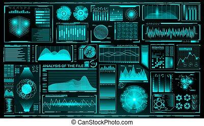 futuriste, interface utilisateur, set., hud., avenir, infographic, elements., technologie, et, science, theme., analyse, system., balayage, graphiques, et, waves., vecteur, illustration