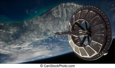 futuriste, la terre, orbiter, espacez satellite
