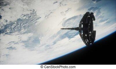 futuriste, la terre, satellite, espace, orbiter