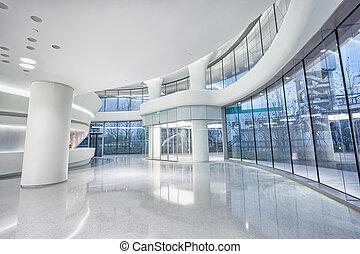 futuriste, moderne, bâtiment bureau, intérieur, dans, urbain, ville