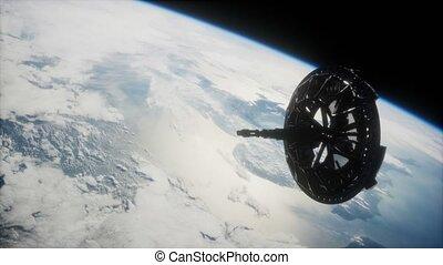 futuriste, orbiter, espacez satellite, la terre