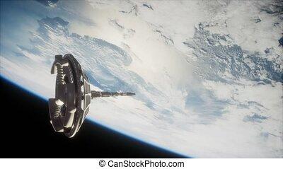 futuriste, orbiter, la terre, espacez satellite