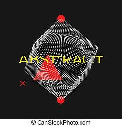 futuriste, particles., petit, grid., cristal, science., vecteur, moléculaire, dots., consister, objet, illustration., 3d, education, structure, connexion
