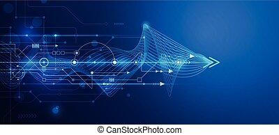 futuriste, planche, résumé, maille, circuit, vecteur, ligne