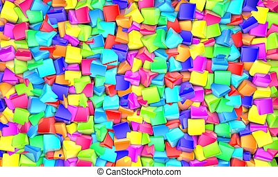 futuriste, résumé, cubes, arrière-plan coloré