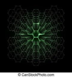 futuriste, résumé, hexagonal, fond