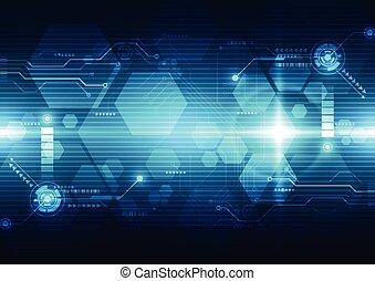 futuriste, résumé, illustration, interface, vecteur, arrière-plan., technologie, hud