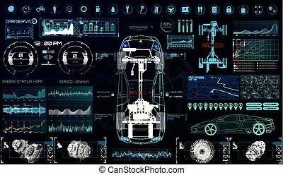 futuriste, service voiture, interface., utilisateur, hud