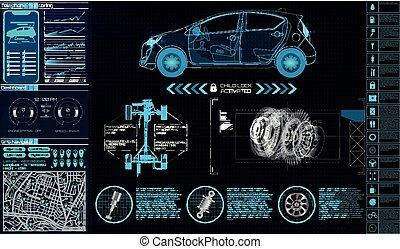 futuriste, service voiture, interface., utilisateur
